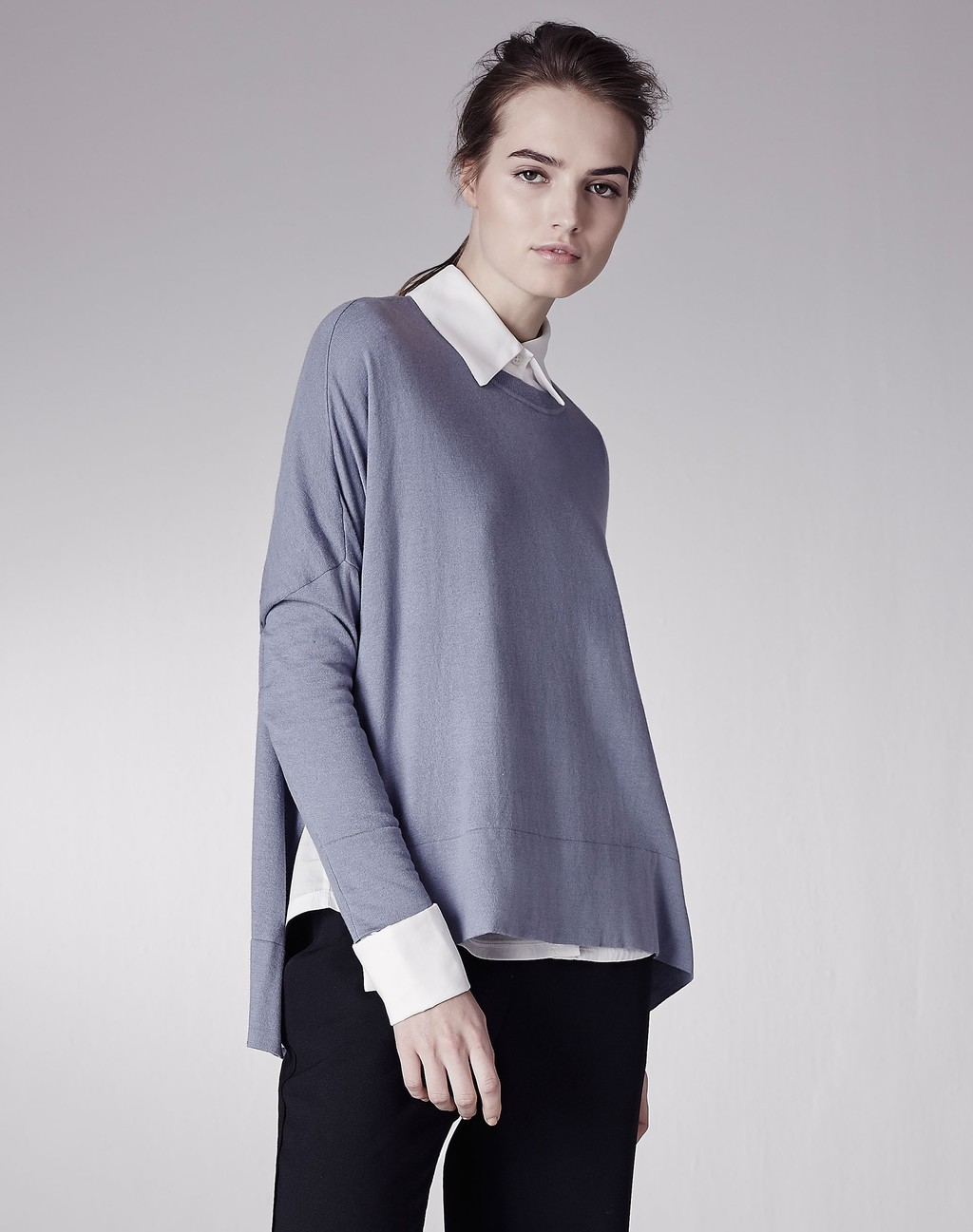 Silk Blend Relaxed Jumper China Blue - style: standard; secondary colour: ivory/cream; predominant colour: mid grey; occasions: casual, creative work; length: standard; fibres: wool - mix; fit: loose; neckline: no opening/shirt collar/peter pan; sleeve length: long sleeve; sleeve style: standard; texture group: knits/crochet; pattern type: knitted - fine stitch; pattern size: standard; pattern: colourblock; season: a/w 2015; wardrobe: highlight