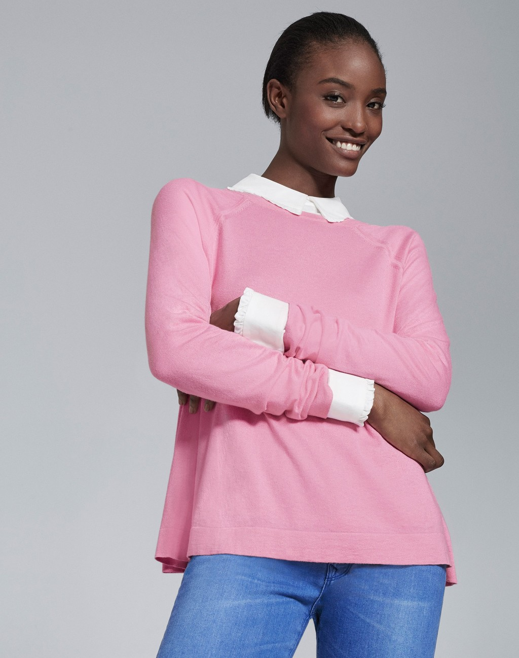 Frill Collar Layering Shirt White - style: standard; secondary colour: white; predominant colour: pink; occasions: casual, creative work; length: standard; fibres: cotton - mix; fit: loose; neckline: no opening/shirt collar/peter pan; sleeve length: long sleeve; sleeve style: standard; texture group: knits/crochet; pattern type: knitted - fine stitch; pattern size: standard; pattern: colourblock; season: a/w 2015; wardrobe: highlight