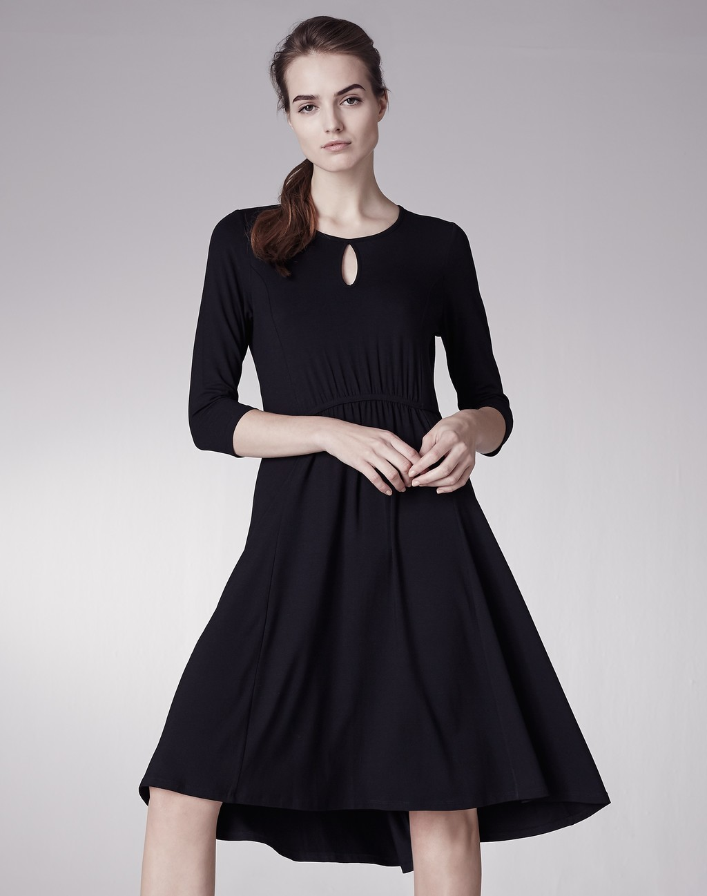 Dipped Hem Tie Waist Dress Black - pattern: plain; predominant colour: black; length: on the knee; fit: fitted at waist & bust; style: fit & flare; neckline: peep hole neckline; fibres: polyester/polyamide - stretch; occasions: occasion; hip detail: subtle/flattering hip detail; sleeve length: 3/4 length; sleeve style: standard; pattern type: fabric; texture group: jersey - stretchy/drapey; season: s/s 2016; wardrobe: event