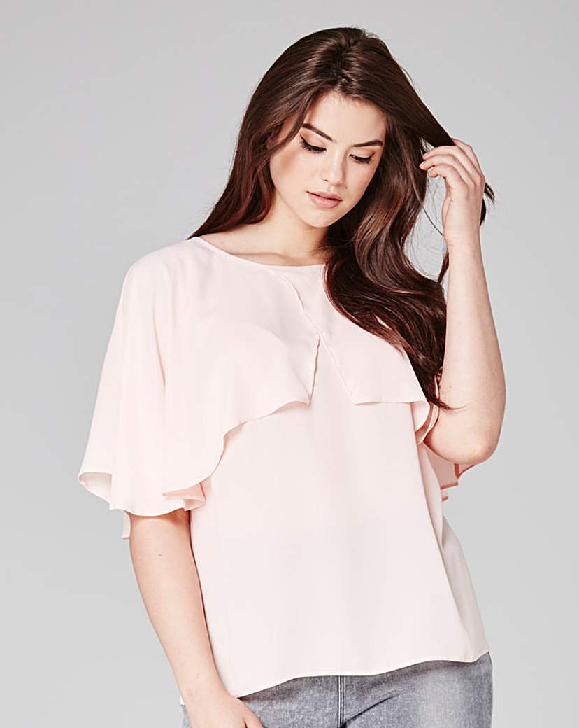 Cape Blouse - neckline: round neck; pattern: plain; style: blouse; bust detail: subtle bust detail; predominant colour: blush; occasions: casual; length: standard; fibres: polyester/polyamide - 100%; fit: body skimming; sleeve length: half sleeve; sleeve style: standard; texture group: crepes; pattern type: fabric; season: s/s 2016; wardrobe: basic