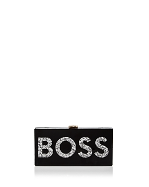 Boss Box Clutch - secondary colour: silver; predominant colour: black; occasions: evening, occasion; type of pattern: light; style: clutch; length: hand carry; size: small; material: fabric; finish: plain; pattern: patterned/print; season: s/s 2016; wardrobe: event