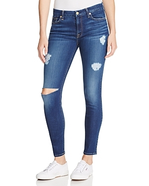 B(Air) Destroyed Skinny Ankle Jeans In Duchess - style: skinny leg; length: standard; pattern: plain; pocket detail: traditional 5 pocket; waist: mid/regular rise; predominant colour: navy; occasions: casual; fibres: cotton - stretch; jeans detail: washed/faded, rips; texture group: denim; pattern type: fabric; season: s/s 2016