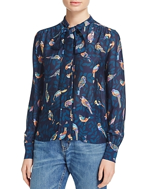 Winnie Bird Print Shirt - style: shirt; neckline: pussy bow; secondary colour: blush; predominant colour: navy; occasions: casual; length: standard; fibres: silk - 100%; fit: body skimming; sleeve length: long sleeve; sleeve style: standard; texture group: crepes; pattern type: fabric; pattern: patterned/print; multicoloured: multicoloured; season: s/s 2016; wardrobe: highlight