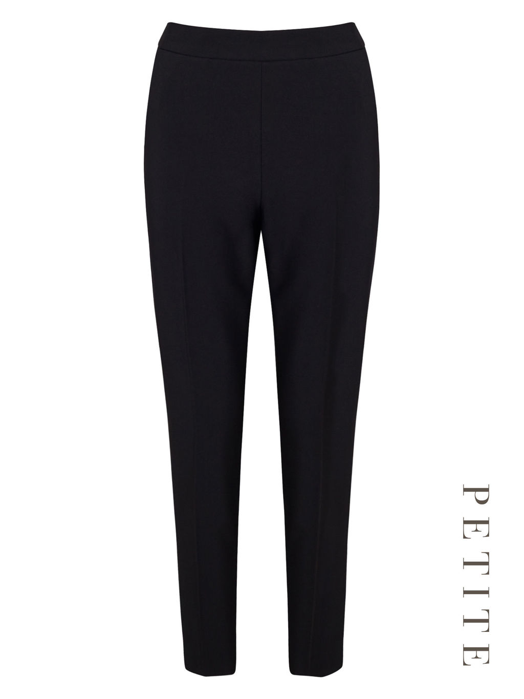 Petite Curved Hem Trousers - length: standard; pattern: plain; waist: mid/regular rise; predominant colour: black; occasions: casual, creative work; fibres: polyester/polyamide - stretch; fit: slim leg; pattern type: fabric; texture group: woven light midweight; style: standard; season: s/s 2016; wardrobe: basic