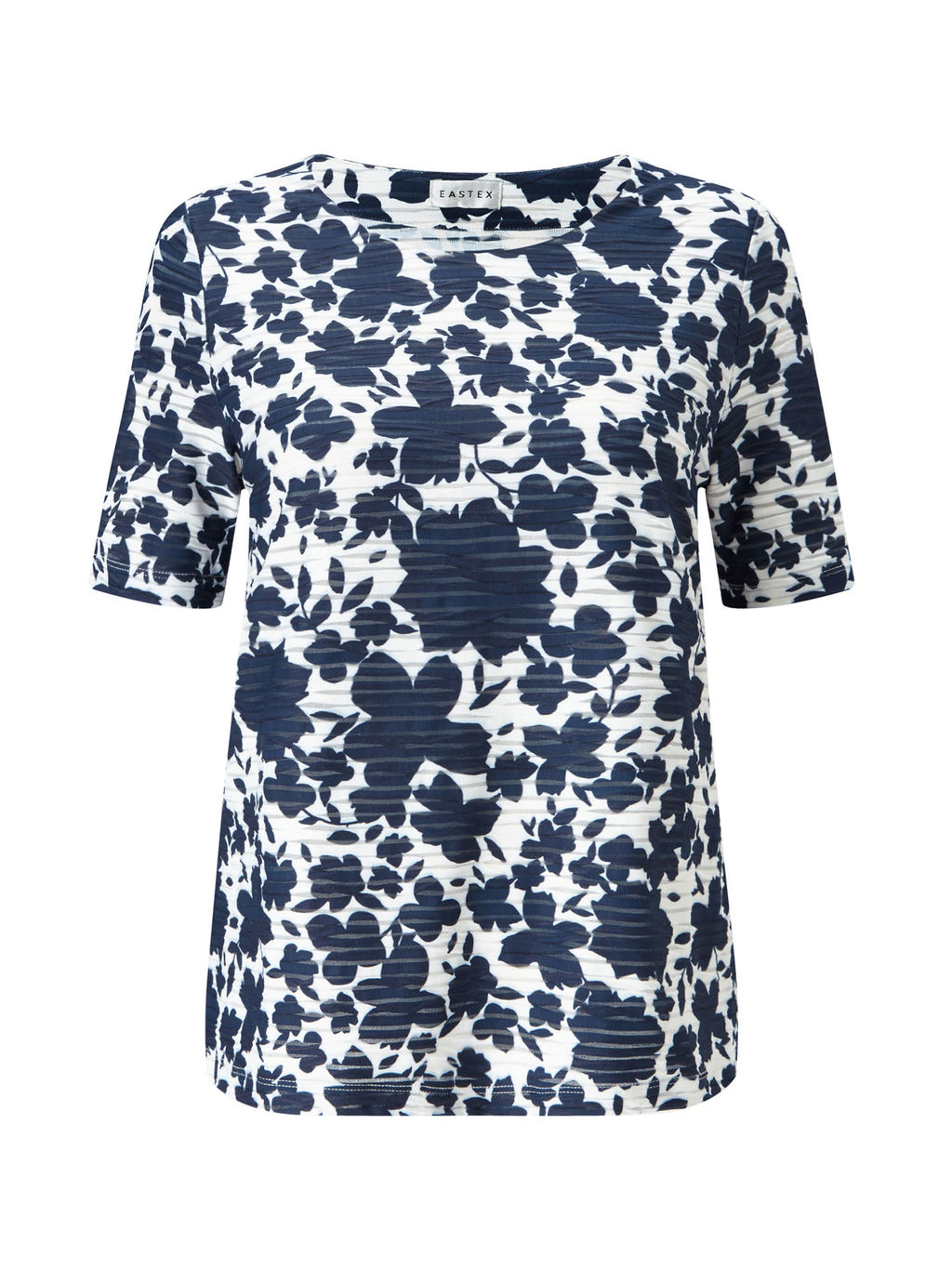 Mixed Texture Floral Top - predominant colour: white; secondary colour: navy; occasions: casual; length: standard; style: top; fibres: polyester/polyamide - stretch; fit: body skimming; neckline: crew; sleeve length: short sleeve; sleeve style: standard; pattern type: fabric; pattern: florals; texture group: jersey - stretchy/drapey; pattern size: big & busy (top); multicoloured: multicoloured; season: s/s 2016; wardrobe: highlight