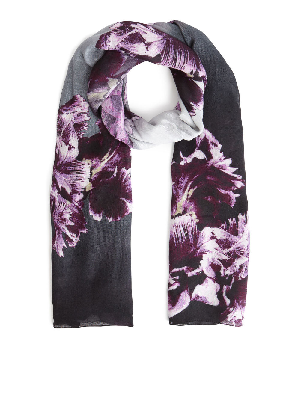 Brushstroke Colourblock Scarf - secondary colour: magenta; predominant colour: black; occasions: casual, creative work; type of pattern: light; style: regular; size: standard; material: fabric; pattern: florals; season: s/s 2016; wardrobe: highlight