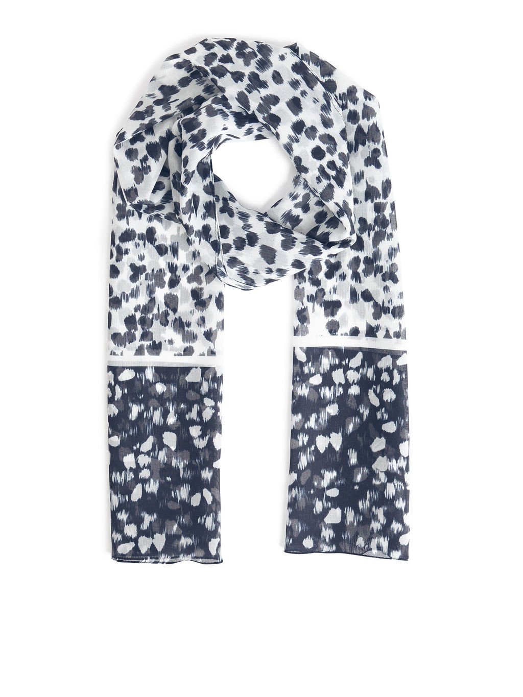 Rossmoor Scarf - predominant colour: white; secondary colour: navy; occasions: casual, creative work; type of pattern: light; style: regular; size: standard; material: fabric; pattern: patterned/print; season: s/s 2016