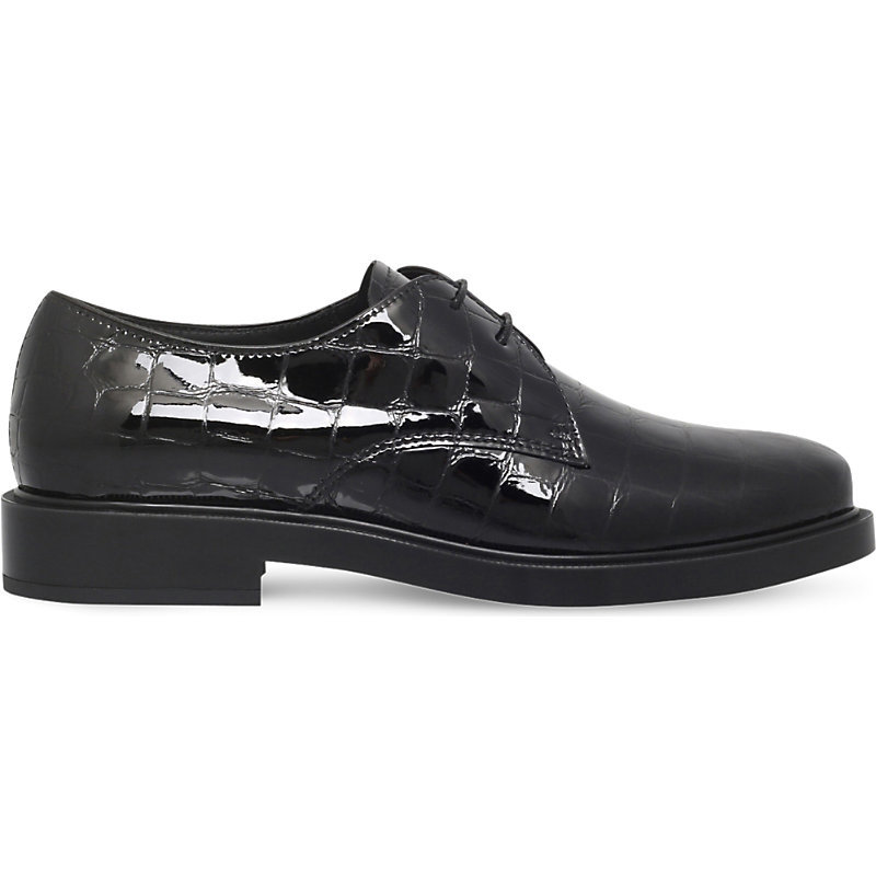 Gomma Croc Embossed Leather Derby Shoes, Women's, Eur 38.5 / 5.5 Uk Women, Black - predominant colour: black; occasions: casual, creative work; material: plastic/rubber; heel height: flat; toe: round toe; finish: plain; pattern: plain; style: lace ups; season: s/s 2016; wardrobe: highlight