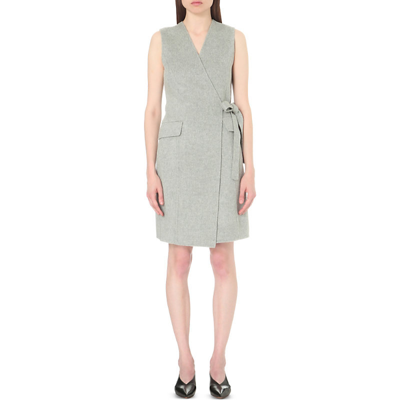 Livwilth Wool And Cashmere Blend Dress, Women's, Melange Grey - style: faux wrap/wrap; neckline: v-neck; fit: tailored/fitted; pattern: plain; sleeve style: sleeveless; waist detail: belted waist/tie at waist/drawstring; predominant colour: light grey; occasions: evening; length: just above the knee; fibres: wool - mix; sleeve length: sleeveless; pattern type: fabric; texture group: woven light midweight; season: s/s 2016; wardrobe: event