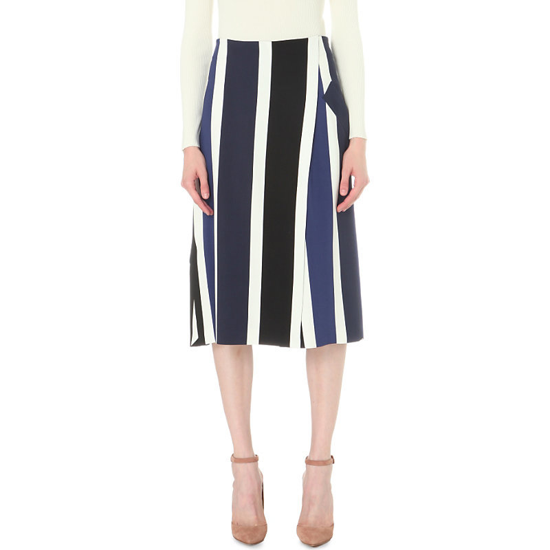 Giro Stretch Crepe Skirt, Women's, Midnight Blue - length: below the knee; pattern: vertical stripes; style: full/prom skirt; fit: loose/voluminous; waist: high rise; secondary colour: navy; predominant colour: black; fibres: viscose/rayon - stretch; occasions: occasion, creative work; texture group: crepes; pattern type: fabric; season: s/s 2016