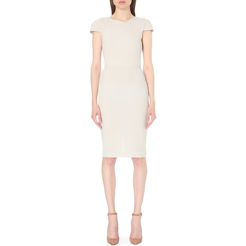 Steele Wool Crepe Dress, Women's, Dove Grey - sleeve style: capped; fit: tight; pattern: plain; style: bodycon; predominant colour: stone; occasions: evening; length: on the knee; fibres: wool - 100%; neckline: crew; sleeve length: short sleeve; texture group: crepes; pattern type: fabric; season: s/s 2016; wardrobe: event