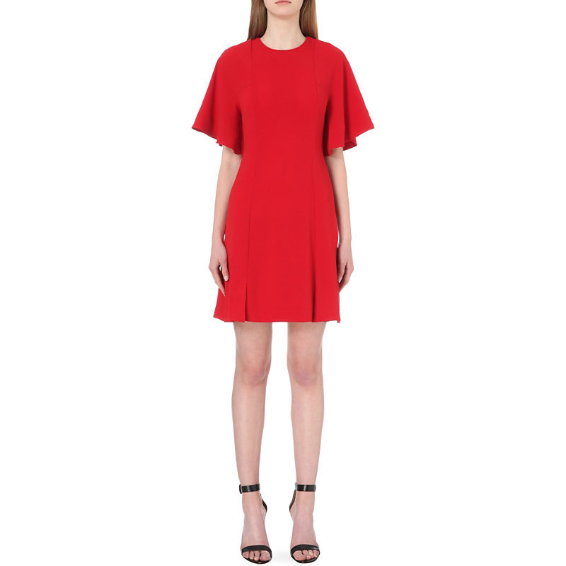 Batwing Sleeve Crepe Dress - style: shift; fit: tailored/fitted; pattern: plain; predominant colour: true red; occasions: evening; length: just above the knee; fibres: viscose/rayon - stretch; neckline: crew; hip detail: subtle/flattering hip detail; sleeve length: short sleeve; sleeve style: standard; pattern type: fabric; texture group: jersey - stretchy/drapey; season: s/s 2016; wardrobe: event