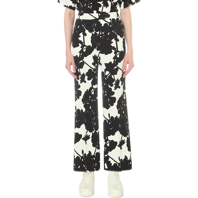 Navile Wide High Rise Crepe Trousers, Women's, White - length: standard; waist: mid/regular rise; secondary colour: white; predominant colour: black; occasions: casual, creative work; fibres: viscose/rayon - stretch; trends: monochrome; fit: wide leg; pattern type: fabric; pattern: florals; texture group: woven light midweight; style: standard; pattern size: standard (bottom); season: s/s 2016; wardrobe: highlight