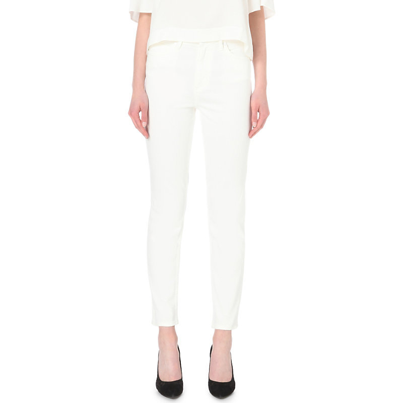 Skinny High Rise Jeans, Women's, White - style: skinny leg; length: standard; pattern: plain; pocket detail: traditional 5 pocket; waist: mid/regular rise; predominant colour: white; occasions: casual, creative work; fibres: cotton - stretch; texture group: denim; pattern type: fabric; season: s/s 2016