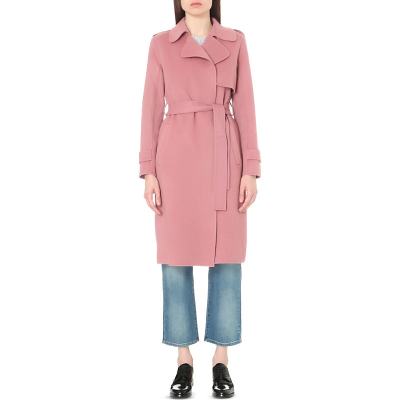 Oaklane Wool And Cashmere Blend Coat, Women's, Size: Small, Pink Willow - pattern: plain; style: trench coat; length: on the knee; collar: standard lapel/rever collar; predominant colour: pink; occasions: casual; fit: tailored/fitted; fibres: wool - mix; waist detail: belted waist/tie at waist/drawstring; sleeve length: long sleeve; sleeve style: standard; collar break: medium; pattern type: fabric; texture group: woven bulky/heavy; season: s/s 2016; wardrobe: highlight