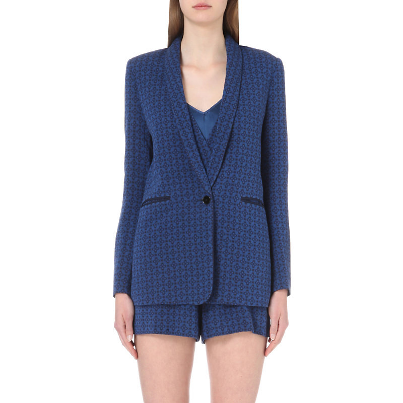 Diamond Pattern Brocade Blazer, Women's, Blue - style: single breasted blazer; collar: shawl/waterfall; predominant colour: royal blue; occasions: evening, work; length: standard; fit: tailored/fitted; fibres: viscose/rayon - 100%; sleeve length: long sleeve; sleeve style: standard; collar break: medium; pattern type: fabric; pattern size: light/subtle; pattern: patterned/print; texture group: woven light midweight; season: s/s 2016