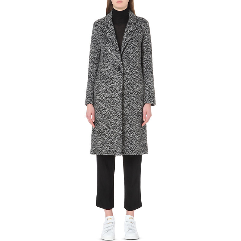 Garou Faux Fur Coat, Women's, White/Midnight Blue - style: single breasted; length: on the knee; collar: standard lapel/rever collar; secondary colour: white; predominant colour: navy; occasions: casual, work, creative work; fit: tailored/fitted; fibres: wool - 100%; sleeve length: long sleeve; sleeve style: standard; collar break: medium; pattern type: fabric; pattern size: standard; pattern: patterned/print; texture group: woven bulky/heavy; multicoloured: multicoloured; season: s/s 2016; wardrobe: highlight