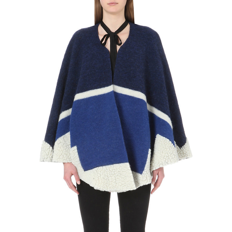 Vitamine Wool Blend Poncho, Women's, Bleu - length: below the bottom; pattern: striped; collar: round collar/collarless; fit: loose; style: cape; back detail: hood; shoulder detail: contrast pattern/fabric at shoulder; secondary colour: ivory/cream; predominant colour: navy; occasions: casual; fibres: wool - mix; sleeve length: long sleeve; collar break: low/open; pattern type: fabric; pattern size: standard; texture group: woven bulky/heavy; sleeve style: cape/poncho sleeve; multicoloured: multicoloured; season: s/s 2016