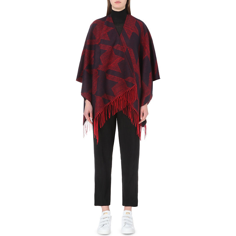 Ermine Knitted Poncho, Women's, Rouge - length: below the bottom; collar: shawl/waterfall; fit: loose; style: poncho/blanket; secondary colour: true red; predominant colour: black; occasions: casual; fibres: acrylic - mix; sleeve length: long sleeve; sleeve style: standard; texture group: knits/crochet; collar break: low/open; pattern type: knitted - fine stitch; pattern: patterned/print; embellishment: fringing; pattern size: big & busy (top); multicoloured: multicoloured; season: s/s 2016; wardrobe: highlight