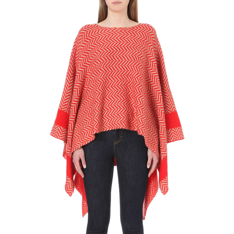 Monsieur Knitted Poncho, Women's, Rouge Orange - length: below the bottom; collar: round collar/collarless; fit: loose; style: poncho/blanket; secondary colour: ivory/cream; predominant colour: bright orange; occasions: casual; fibres: acrylic - mix; sleeve length: long sleeve; sleeve style: standard; collar break: high; pattern type: fabric; pattern: patterned/print; texture group: woven bulky/heavy; multicoloured: multicoloured; season: s/s 2016; wardrobe: highlight