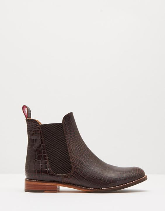 Chocolate Westbourne Leather Chelsea Boots Size Adult Size 6 | Uk - predominant colour: chocolate brown; occasions: casual; material: leather; heel height: flat; heel: standard; toe: round toe; boot length: ankle boot; finish: plain; pattern: animal print; style: chelsea; season: s/s 2016; wardrobe: highlight