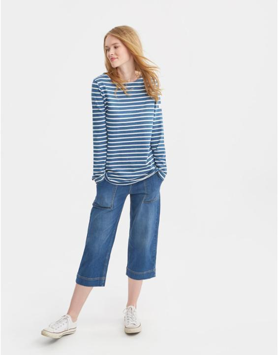 Salt Wash Harbour Jersey Top Salt Wash - pattern: horizontal stripes; secondary colour: white; predominant colour: diva blue; occasions: casual; length: standard; style: top; fibres: cotton - 100%; fit: body skimming; neckline: crew; sleeve length: long sleeve; sleeve style: standard; pattern type: fabric; pattern size: standard; texture group: jersey - stretchy/drapey; multicoloured: multicoloured; season: s/s 2016
