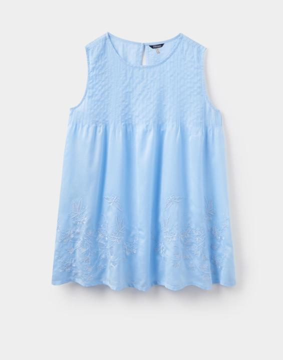 Light Blue Honesty Woven Sleeveless Top Size 12 | Uk - pattern: plain; sleeve style: sleeveless; style: vest top; predominant colour: pale blue; occasions: casual; length: standard; fibres: cotton - mix; fit: loose; neckline: crew; sleeve length: sleeveless; pattern type: fabric; texture group: woven light midweight; season: s/s 2016; wardrobe: highlight