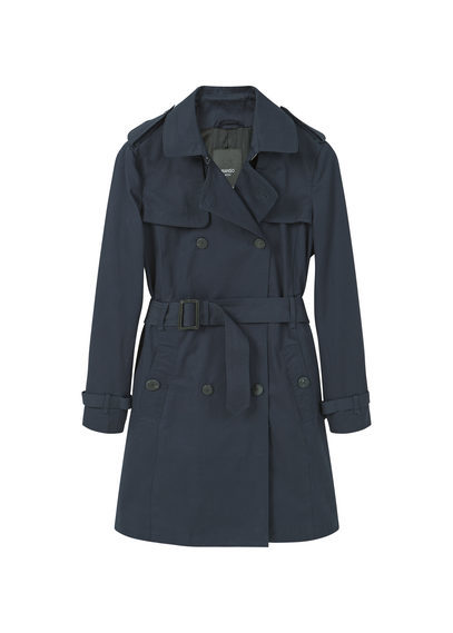 Classic Cotton Trench Coat - pattern: plain; style: trench coat; collar: standard lapel/rever collar; length: mid thigh; predominant colour: navy; occasions: casual, creative work; fit: straight cut (boxy); fibres: cotton - 100%; waist detail: belted waist/tie at waist/drawstring; sleeve length: long sleeve; sleeve style: standard; collar break: medium; pattern type: knitted - fine stitch; texture group: woven light midweight; season: s/s 2016; wardrobe: basic