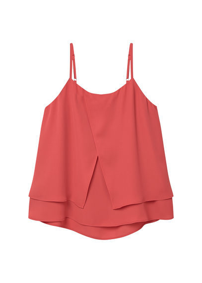 Double Layer Top - sleeve style: spaghetti straps; pattern: plain; predominant colour: coral; occasions: casual, holiday; length: standard; style: top; neckline: scoop; fibres: polyester/polyamide - 100%; fit: loose; hip detail: adds bulk at the hips; sleeve length: sleeveless; pattern type: fabric; texture group: other - light to midweight; season: s/s 2016; wardrobe: highlight