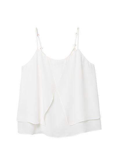 Double Layer Top - sleeve style: spaghetti straps; pattern: plain; predominant colour: white; occasions: casual, holiday; length: standard; style: top; neckline: scoop; fibres: polyester/polyamide - 100%; fit: loose; sleeve length: sleeveless; hip detail: ruffles/tiers/tie detail at hip; pattern type: fabric; texture group: other - light to midweight; season: s/s 2016; wardrobe: highlight