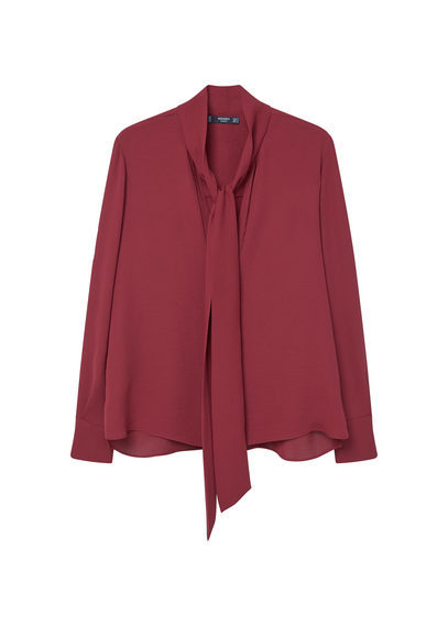 Tie Neck Blouse - pattern: plain; neckline: pussy bow; style: blouse; predominant colour: burgundy; occasions: evening; length: standard; fibres: polyester/polyamide - 100%; fit: body skimming; sleeve length: long sleeve; sleeve style: standard; pattern type: fabric; texture group: other - light to midweight; season: s/s 2016; wardrobe: event