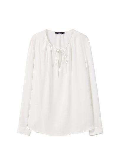 Buttoned Flowy Blouse - pattern: plain; neckline: pussy bow; style: blouse; predominant colour: white; occasions: casual; length: standard; fibres: viscose/rayon - 100%; fit: body skimming; sleeve length: long sleeve; sleeve style: standard; pattern type: fabric; texture group: woven light midweight; season: s/s 2016; wardrobe: highlight