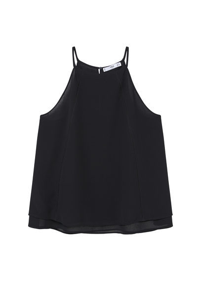 Halter Neck Top - neckline: round neck; pattern: plain; sleeve style: sleeveless; style: vest top; predominant colour: black; occasions: casual; length: standard; fibres: polyester/polyamide - 100%; fit: body skimming; sleeve length: sleeveless; pattern type: fabric; texture group: other - light to midweight; season: s/s 2016; wardrobe: basic