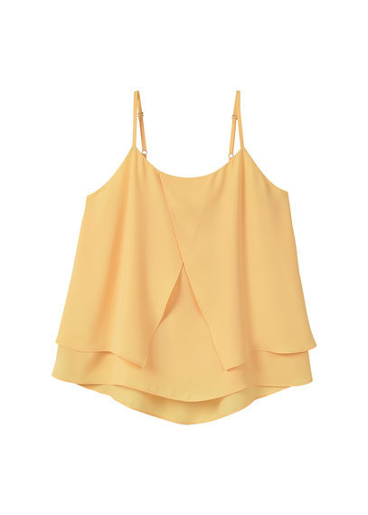 Double Layer Top - sleeve style: standard vest straps/shoulder straps; pattern: plain; predominant colour: primrose yellow; occasions: casual, evening, holiday; length: standard; style: top; neckline: scoop; fibres: polyester/polyamide - 100%; fit: loose; sleeve length: sleeveless; pattern type: fabric; texture group: jersey - stretchy/drapey; season: s/s 2016; wardrobe: highlight