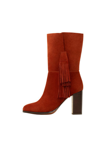 Fringed Leather Boots - predominant colour: tan; occasions: casual, creative work; material: suede; embellishment: tassels; heel: block; toe: round toe; boot length: mid calf; style: standard; finish: plain; pattern: plain; heel height: very high; season: s/s 2016; wardrobe: highlight