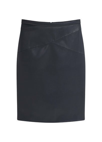 Pencil Skirt - pattern: plain; style: pencil; fit: body skimming; waist: high rise; predominant colour: black; occasions: casual, creative work; length: just above the knee; fibres: polyester/polyamide - 100%; pattern type: fabric; texture group: other - light to midweight; season: s/s 2016; wardrobe: basic