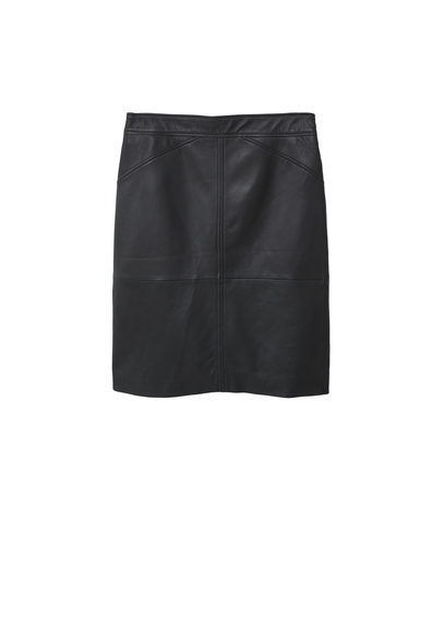 Leather Skirt - length: mid thigh; pattern: plain; style: straight; waist: mid/regular rise; predominant colour: black; occasions: casual, creative work; fibres: leather - 100%; texture group: leather; fit: straight cut; pattern type: fabric; season: s/s 2016; wardrobe: highlight