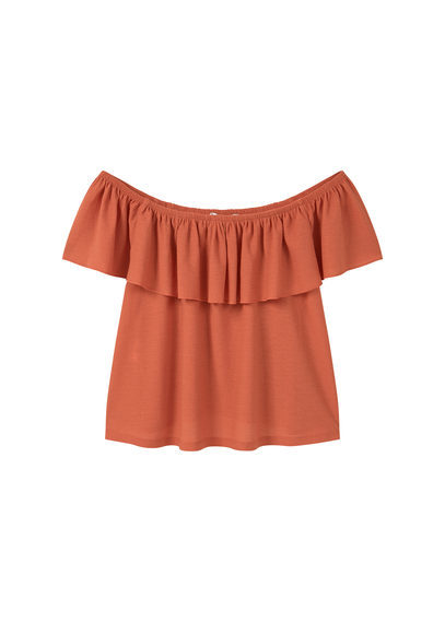 Off Shoulder Top - neckline: off the shoulder; pattern: plain; style: blouse; predominant colour: bright orange; occasions: casual; length: standard; fibres: polyester/polyamide - stretch; fit: body skimming; sleeve length: short sleeve; sleeve style: standard; pattern type: fabric; texture group: other - light to midweight; season: s/s 2016