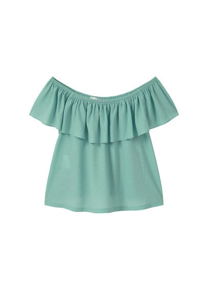 Off Shoulder Top - neckline: off the shoulder; pattern: plain; predominant colour: pistachio; occasions: casual; length: standard; style: top; fibres: polyester/polyamide - stretch; fit: body skimming; sleeve length: short sleeve; sleeve style: standard; bust detail: tiers/frills/bulky drapes/pleats; pattern type: fabric; texture group: other - light to midweight; season: s/s 2016; wardrobe: highlight