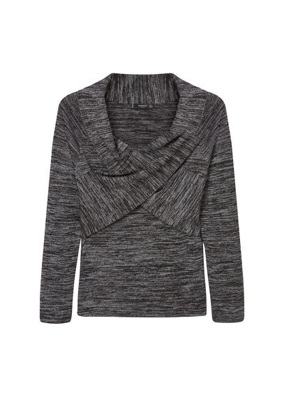 Wrap T Shirt - neckline: off the shoulder; pattern: plain; predominant colour: charcoal; occasions: casual; length: standard; style: top; fibres: viscose/rayon - stretch; fit: body skimming; sleeve length: long sleeve; sleeve style: standard; pattern type: fabric; texture group: jersey - stretchy/drapey; season: s/s 2016