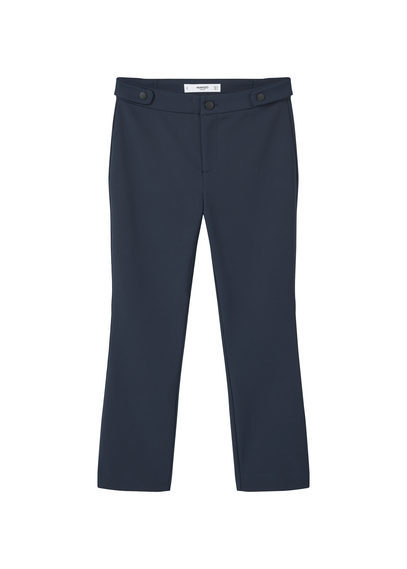 Cotton Trousers - pattern: plain; waist: mid/regular rise; predominant colour: navy; occasions: casual, creative work; length: calf length; fibres: cotton - mix; fit: slim leg; pattern type: fabric; texture group: other - light to midweight; style: standard; season: s/s 2016
