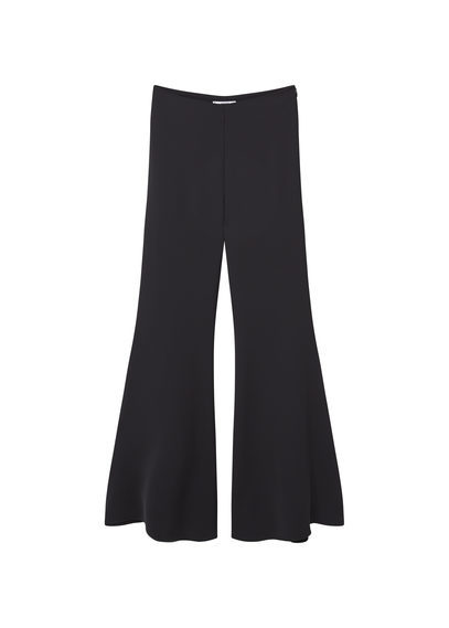 Flared Trousers - length: standard; pattern: plain; waist: mid/regular rise; predominant colour: black; fibres: polyester/polyamide - 100%; fit: flares; pattern type: fabric; texture group: other - light to midweight; style: standard; occasions: creative work; season: s/s 2016; wardrobe: basic