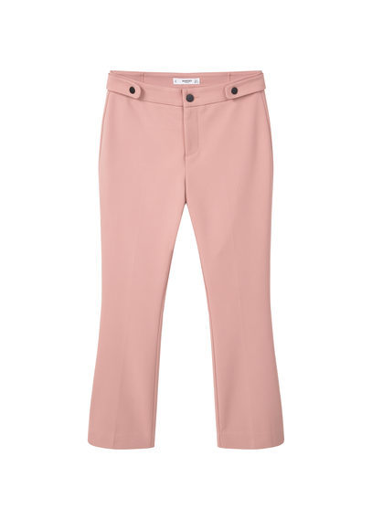 Cotton Trousers - pattern: plain; waist: mid/regular rise; predominant colour: pink; occasions: casual, creative work; length: ankle length; fibres: cotton - 100%; texture group: cotton feel fabrics; fit: straight leg; pattern type: fabric; style: standard; season: s/s 2016; wardrobe: highlight