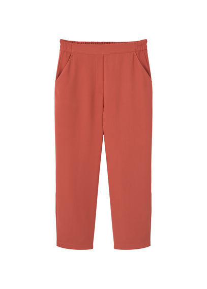Straight Cut Crop Trousers - pattern: plain; waist: mid/regular rise; predominant colour: terracotta; occasions: casual; length: calf length; fibres: polyester/polyamide - 100%; fit: straight leg; pattern type: fabric; texture group: other - light to midweight; style: standard; season: s/s 2016; wardrobe: highlight