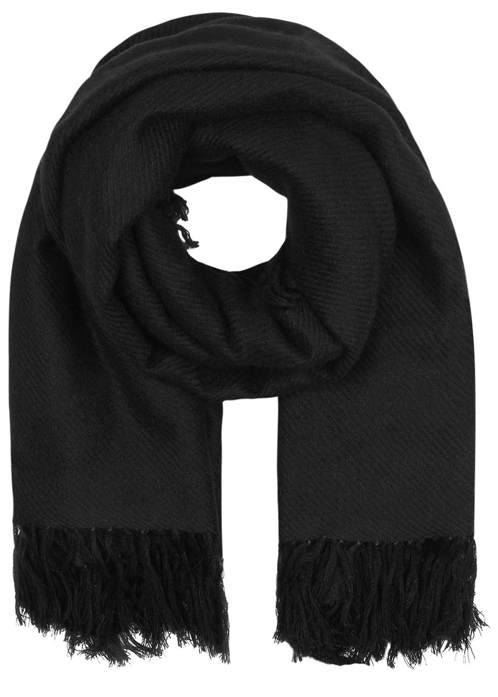Zila Black Fringed Cashmere Blend Scarf - predominant colour: black; occasions: casual; type of pattern: standard; style: regular; size: standard; pattern: plain; material: cashmere; season: s/s 2016