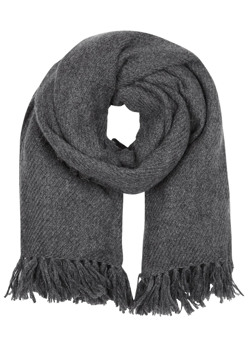 Zila Dark Grey Fringed Cashmere Blend Scarf - predominant colour: charcoal; occasions: casual; type of pattern: standard; style: regular; size: standard; pattern: plain; material: cashmere; season: s/s 2016; wardrobe: investment