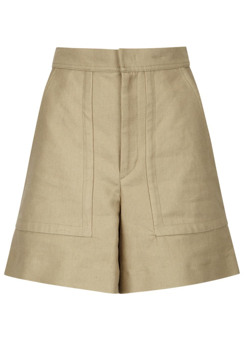 Satia Olive Cotton Blend Shorts - pattern: plain; waist: mid/regular rise; predominant colour: stone; occasions: casual; fibres: cotton - mix; texture group: cotton feel fabrics; pattern type: fabric; season: s/s 2016; style: shorts; length: mid thigh shorts; fit: standard