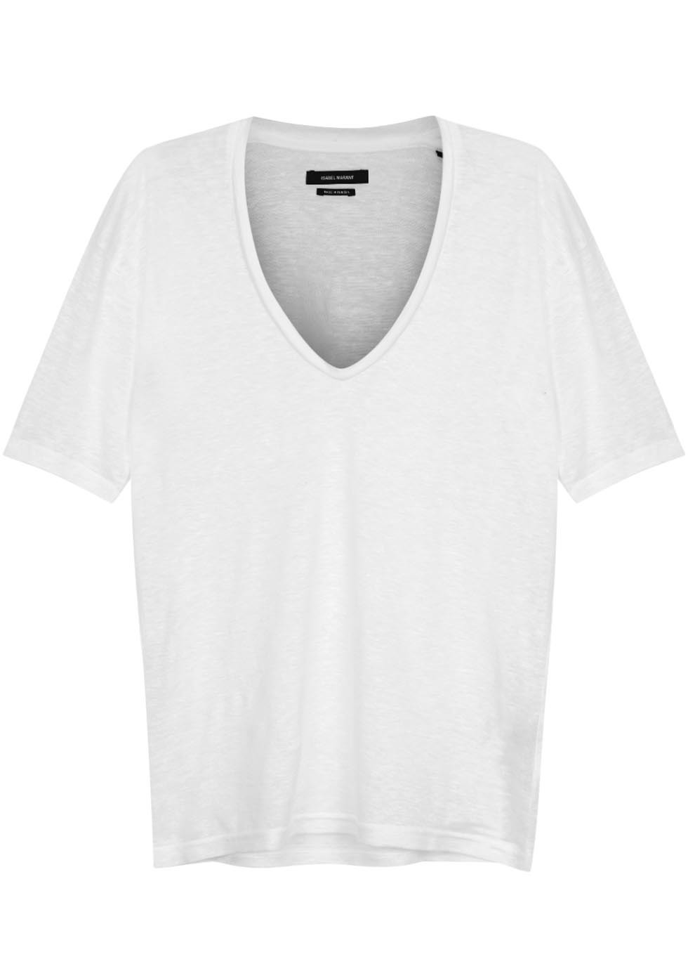 Maree White Slubbed Linen T Shirt - neckline: v-neck; pattern: plain; style: t-shirt; predominant colour: white; occasions: casual; length: standard; fibres: linen - 100%; fit: body skimming; sleeve length: short sleeve; sleeve style: standard; texture group: linen; pattern type: fabric; season: s/s 2016; wardrobe: basic