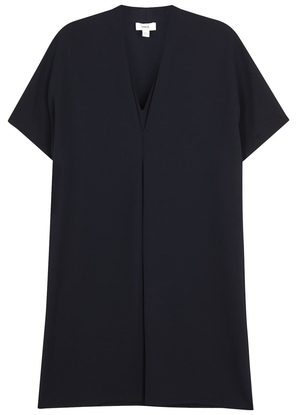 Midnight Blue Layered Effect Dress - style: shift; length: mid thigh; neckline: v-neck; pattern: plain; predominant colour: navy; occasions: evening; fit: body skimming; fibres: polyester/polyamide - 100%; sleeve length: short sleeve; sleeve style: standard; pattern type: fabric; texture group: other - light to midweight; season: s/s 2016; wardrobe: event