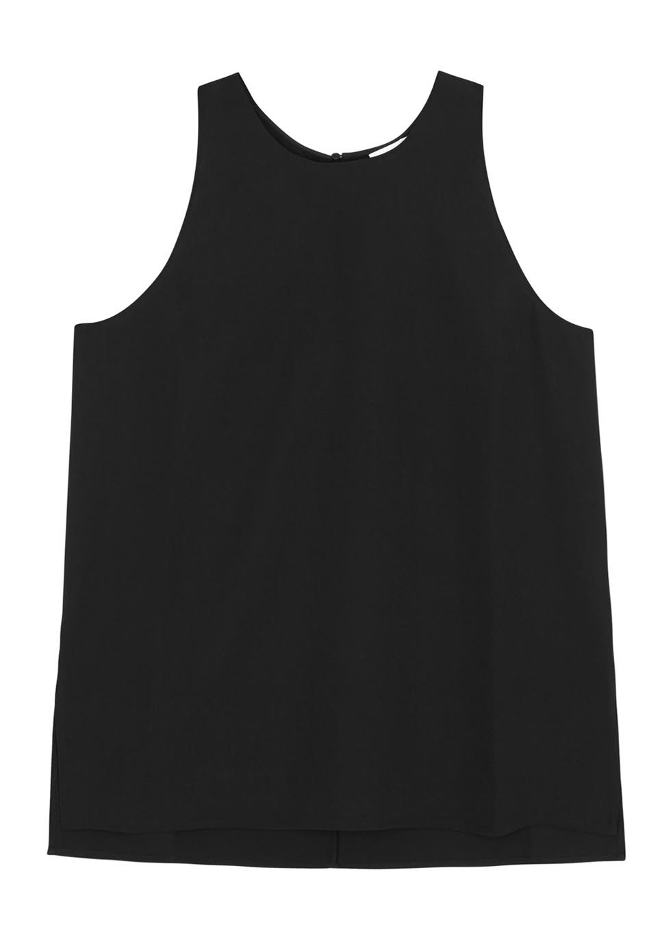 Black Crepe Tank - pattern: plain; sleeve style: sleeveless; style: vest top; predominant colour: black; occasions: casual; length: standard; fibres: polyester/polyamide - 100%; fit: body skimming; neckline: crew; sleeve length: sleeveless; texture group: crepes; pattern type: fabric; season: s/s 2016; wardrobe: basic